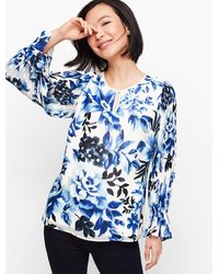 Talbots Gathered Sleeve Watercolor Floral Top - Blue