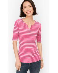 Talbots Split Neck Cotton T-shirt - Pink