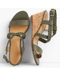Talbots - Royce Braided Leather Cork-wedge Sandals - Lyst