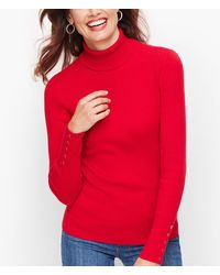 Talbots Button Cuff Ribbed Turtleneck Jumper - Red