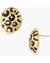 Talbots Leopard Post Earrings - Metallic