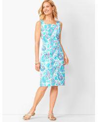 Talbots Fresco Paisley Sheath Dress - Blue