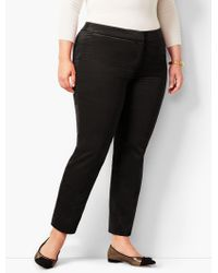 Talbots Plus Size Velveteen Hampshire Ankle Pant - Black