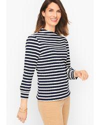 Talbots Stripe Jacquard Funnel Neck Pullover Sweater - Blue