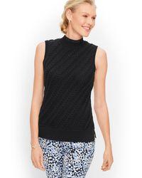 Talbots Cableknit Sleeveless Sweater - Black