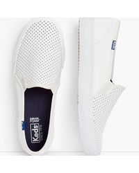 Talbots Keds® Double Decker Perforated Slip-on Sneakers - White