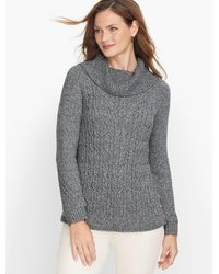 Talbots Cable Cowlneck Sweater - Gray
