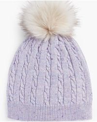 Talbots Cable Stitch Tweed Pompom Hat - Multicolor