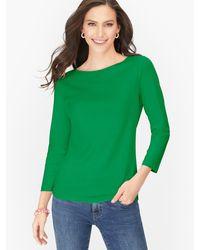 Talbots Cotton Bateau Neck T-shirt - Green