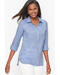 Talbots Linen Popover Shirt Shirt - Blue