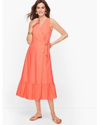 Talbots V-neck Poplin Wrap Dress - Pink