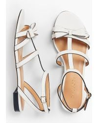 Talbots Keri Bow Vachetta Leather Sandals - White