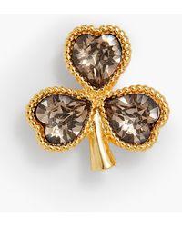 Talbots Crystal Clover Brooch - Metallic