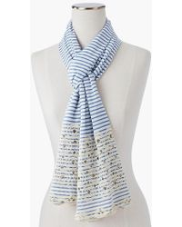 Talbots - Embroidered Circle Stripe Scarf - Lyst
