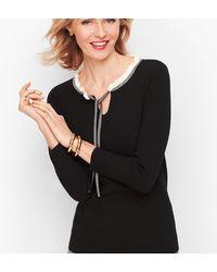 Talbots Tipped Tie Neck Sweater - Black