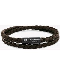 Tateossian - Chelsea Bracelet In Brown Eco-leather With Black Aluminium Clasp - Lyst