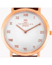 Tateossian - Rotondo Guilloché Ultra Slim Watch With Rose Gold Colour Plating And Detail - Lyst