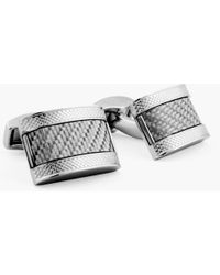Tateossian - D-shape Cufflinks With Grey Carbon Fibre - Lyst