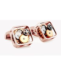 Tateossian - Square Gear Cufflinks In Rose Gold Colour Plating - Lyst