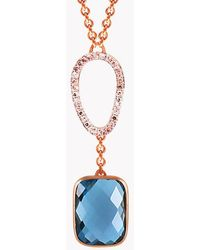 Tateossian - 14k Rose Gold Chelsea Necklace With London Blue Topaz & White Diamond - Lyst