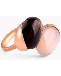 Tateossian - 18k Rose Gold Mayfair Ring With Moonstone & Smoky Quartz - Lyst