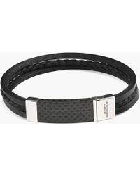 Tateossian - Carbon Slide Silver Bracelet - Lyst