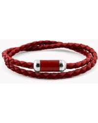 Tateossian - Montecarlo Bracelet In Red Leather With Silver And Enamel Clasp - Lyst
