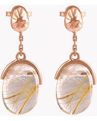 Tateossian - 18k Rose Gold Mayfair Short Earrings With Gold Rutilated Quartz - Lyst