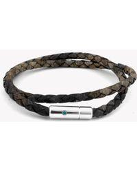 Tateossian - Pop Print Scoubidou Silver Bracelet In Brown - Lyst