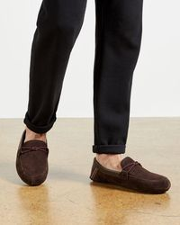 Ted Baker Moccasin Leather Slippers - Brown