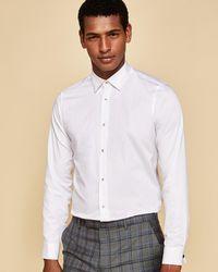 4f47c742d004f Ted Baker Jacquard Shirt in White for Men - Lyst