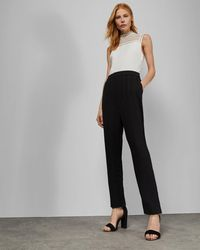 Ted Baker Sleeveless Lace Detail Jumpsuit - Negro