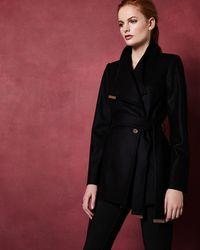 Ted Baker - Short Wool Wrap Coat - Lyst