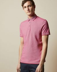 Ted Baker Striped Collar Polo Shirt - Pink