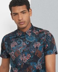 Ted Baker - Tiger Paisley Print Cotton Shirt - Lyst