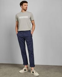 Ted Baker Slim Fit Textured Cotton Trousers - Blue