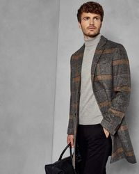 Ted Baker Checked Overcoat - Gris
