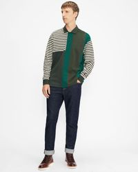 Ted Baker Long Sleeved Striped Rugby Top - Vert