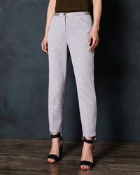 Ted Baker Stitch Detail Skinny Trousers - Grey