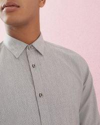 Ted Baker - Circle Print Jacquard Cotton Shirt - Lyst
