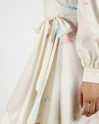 Ted Baker Floral Wrap Long Sleeve Midi Dress - Natural