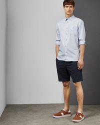 Ted Baker Long Sleeved Linen Shirt - Blue