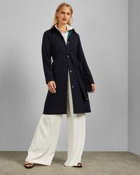 Ted Baker Single Breasted Long Coat - Blue