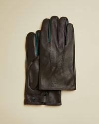 Ted Baker Lederhandschuhe Mit Kontrastdetail - Braun