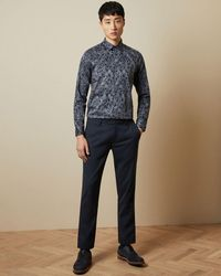 Ted Baker Hemd Aus Baumwolle Mit Paisley-print - Blau