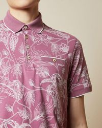 Ted Baker Linear Floral Print Polo Shirt - Purple