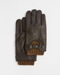 Ted Baker Leather Knitted Gloves - Multicolor