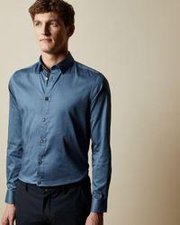 Ted Baker Hemd Aus Baumwolle Mit Geo-print - Blau