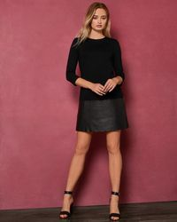 Ted Baker - Leather And Zip Detail Dress - Lyst