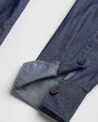 Ted Baker Plain Dobby Shirt - Blue